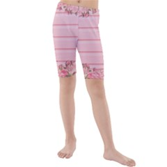 Pink Peony Outline Romantic Kids  Mid Length Swim Shorts