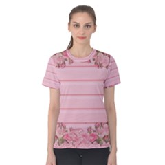 Pink Peony Outline Romantic Women s Cotton Tee