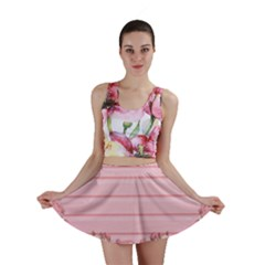 Pink Peony Outline Romantic Mini Skirt