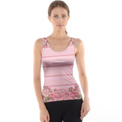 Pink Peony Outline Romantic Tank Top