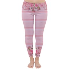 Pink Peony Outline Romantic Classic Winter Leggings