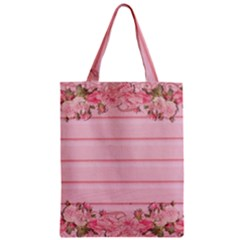 Pink Peony Outline Romantic Zipper Classic Tote Bag