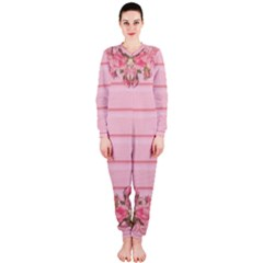 Pink Peony Outline Romantic OnePiece Jumpsuit (Ladies)