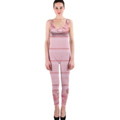 Pink Peony Outline Romantic OnePiece Catsuit