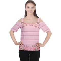Pink Peony Outline Romantic Women s Cutout Shoulder Tee