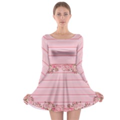 Pink Peony Outline Romantic Long Sleeve Skater Dress