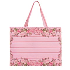 Pink Peony Outline Romantic Zipper Large Tote Bag
