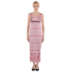 Pink Peony Outline Romantic Fitted Maxi Dress