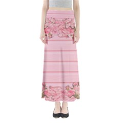 Pink Peony Outline Romantic Maxi Skirts