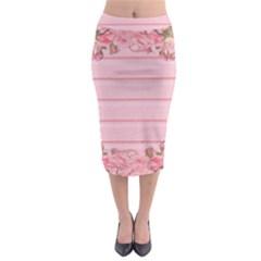 Pink Peony Outline Romantic Midi Pencil Skirt
