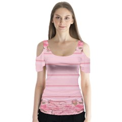 Pink Peony Outline Romantic Butterfly Sleeve Cutout Tee