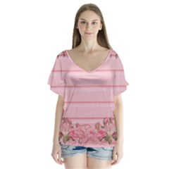 Pink Peony Outline Romantic Flutter Sleeve Top