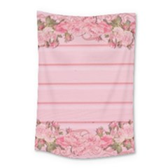Pink Peony Outline Romantic Small Tapestry