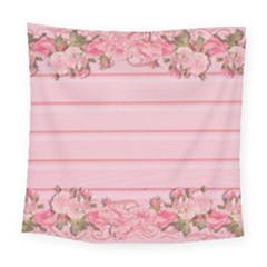 Pink Peony Outline Romantic Square Tapestry (large)