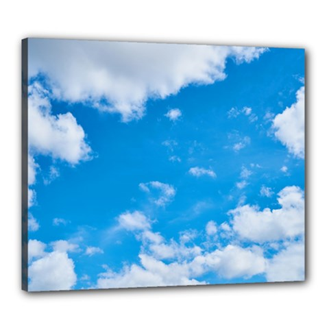 Sky Blue Clouds Nature Amazing Canvas 24  X 20