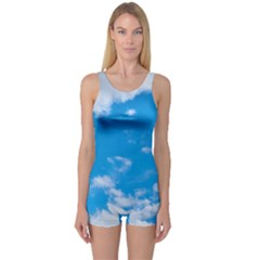 Sky Blue Clouds Nature Amazing One Piece Boyleg Swimsuit