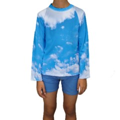 Sky Blue Clouds Nature Amazing Kids  Long Sleeve Swimwear