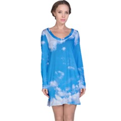 Sky Blue Clouds Nature Amazing Long Sleeve Nightdress