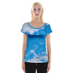 Sky Blue Clouds Nature Amazing Women s Cap Sleeve Top