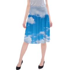 Sky Blue Clouds Nature Amazing Midi Beach Skirt