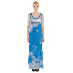 Sky Blue Clouds Nature Amazing Maxi Thigh Split Dress