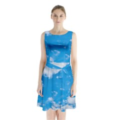 Sky Blue Clouds Nature Amazing Sleeveless Chiffon Waist Tie Dress