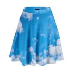 Sky Blue Clouds Nature Amazing High Waist Skirt