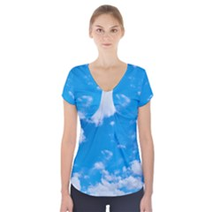 Sky Blue Clouds Nature Amazing Short Sleeve Front Detail Top