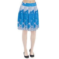 Sky Blue Clouds Nature Amazing Pleated Skirt
