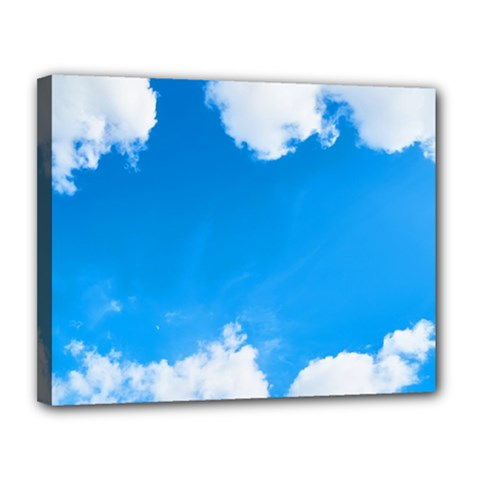 Sky Clouds Blue White Weather Air Canvas 14  X 11