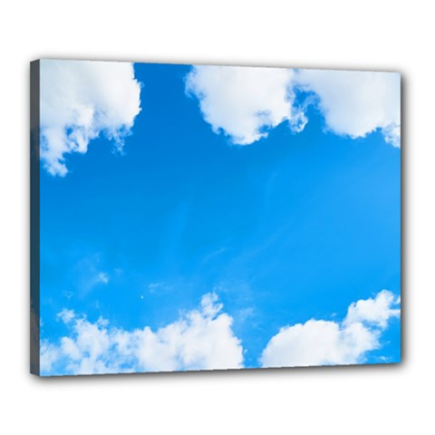 Sky Clouds Blue White Weather Air Canvas 20  X 16