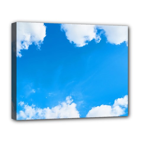 Sky Clouds Blue White Weather Air Deluxe Canvas 20  x 16