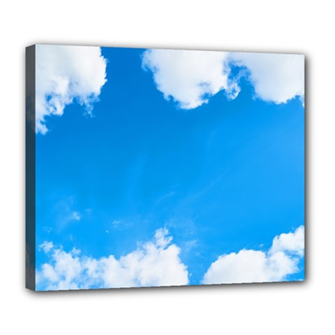 Sky Clouds Blue White Weather Air Deluxe Canvas 24  X 20
