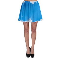 Sky Clouds Blue White Weather Air Skater Skirt