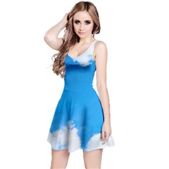 Sky Clouds Blue White Weather Air Reversible Sleeveless Dress