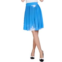 Sky Clouds Blue White Weather Air A Line Skirt