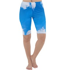 Sky Clouds Blue White Weather Air Cropped Leggings