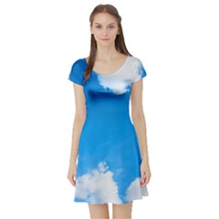 Sky Clouds Blue White Weather Air Short Sleeve Skater Dress