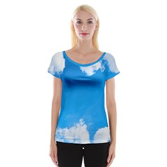 Sky Clouds Blue White Weather Air Women s Cap Sleeve Top