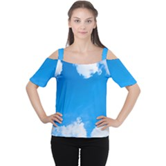 Sky Clouds Blue White Weather Air Women s Cutout Shoulder Tee