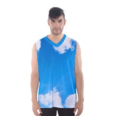 Sky Clouds Blue White Weather Air Men s Basketball Tank Top