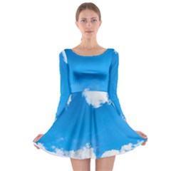 Sky Clouds Blue White Weather Air Long Sleeve Skater Dress