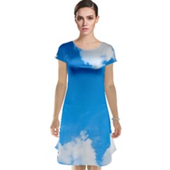 Sky Clouds Blue White Weather Air Cap Sleeve Nightdress