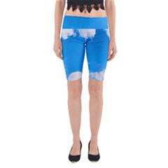 Sky Clouds Blue White Weather Air Yoga Cropped Leggings