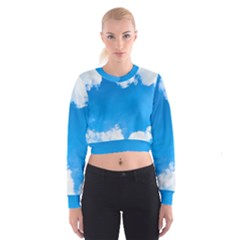 Sky Clouds Blue White Weather Air Women s Cropped Sweatshirt