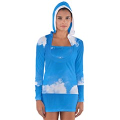 Sky Clouds Blue White Weather Air Women s Long Sleeve Hooded T Shirt