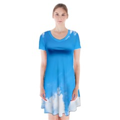 Sky Clouds Blue White Weather Air Short Sleeve V Neck Flare Dress