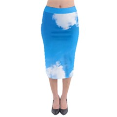 Sky Clouds Blue White Weather Air Midi Pencil Skirt