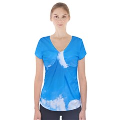 Sky Clouds Blue White Weather Air Short Sleeve Front Detail Top