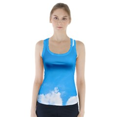 Sky Clouds Blue White Weather Air Racer Back Sports Top